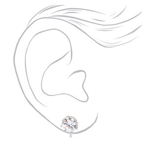 Silver Round Cubic Zirconia Clip On Stud Earrings - 8MM,