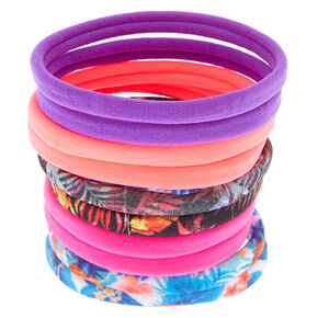 Tropical Print Hair Ties - 10 Pack,