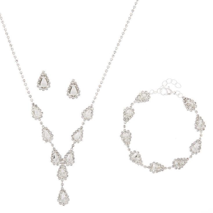 Silver Teardrop Jewelry Set - 3 Pack,