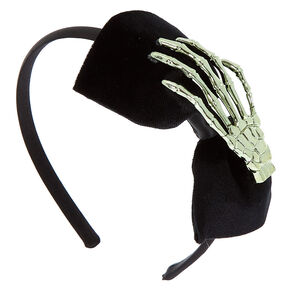 Velvet Skeleton Bow Headband - Black,