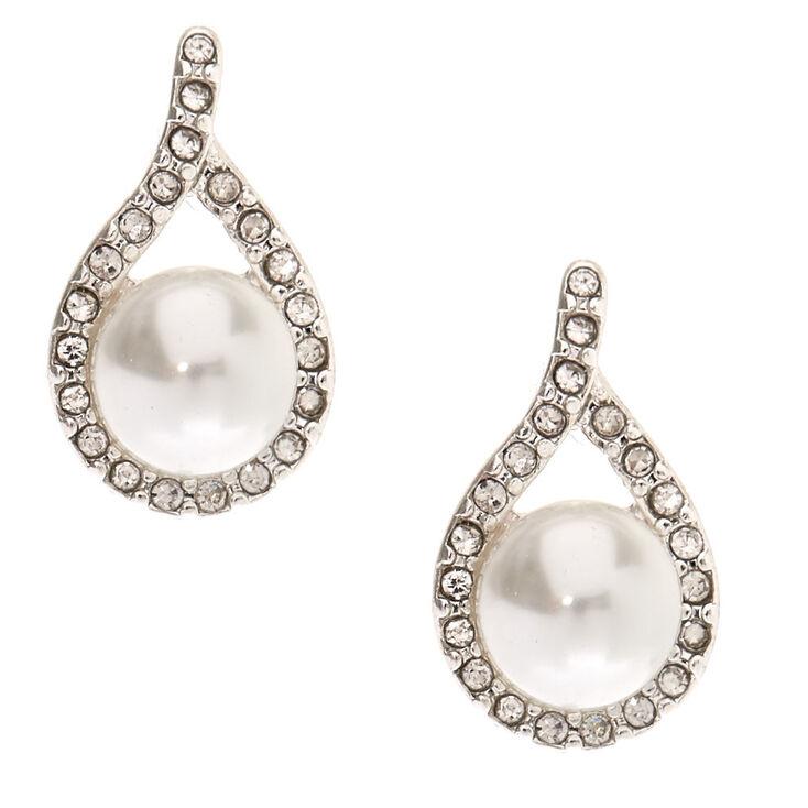Glass Pearl Teardrop Stud Earrings,