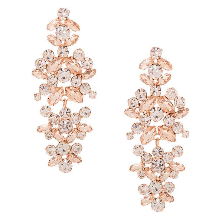 """Rose Gold Rhinestone 2"""" Bouquet Drop Earrings,"""