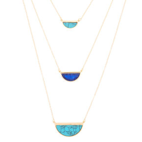 Gold Half Circle Multi Strand Necklace - Blue,