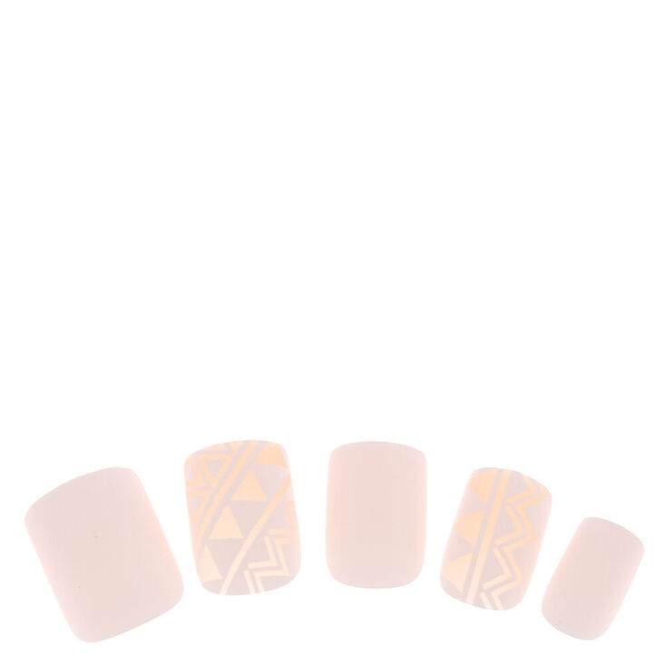 Geometric Square Faux Nail Set - White, 24 Pack,