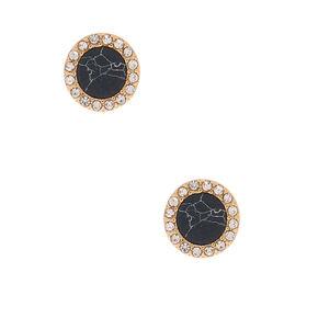 Gold Marbled Stud Earrings - Black,