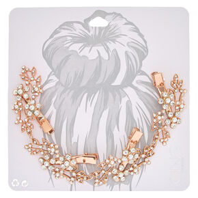 Rose Gold Tone Faux Crystal & Pearl Flower Decorative Hair Swag,