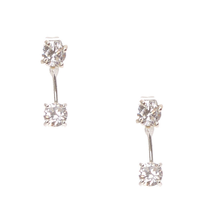 Double Cubic Zirconia Front & Back Drop Earrings,