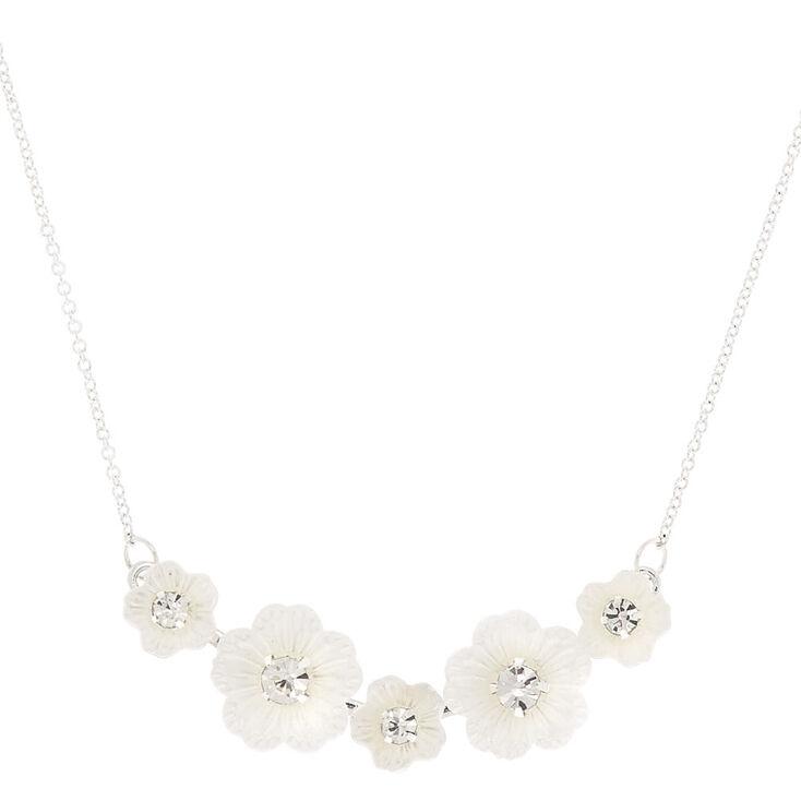 Flower Bib Pendant Necklace - White,