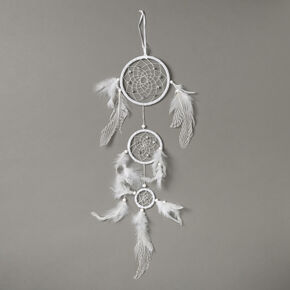 Tiered Stripe Feathers Dreamcatcher - White,