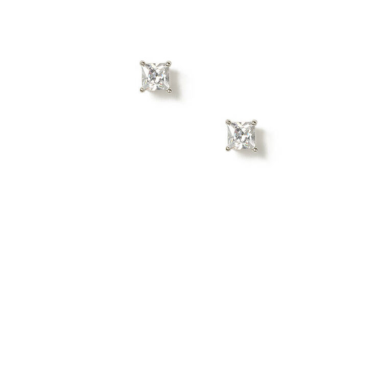 6MM Square Cubic Zirconia Diamond Set Stud Earrings,