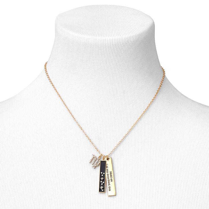 Gold Rectangular Zodiac Pendant Necklace - Virgo,