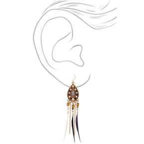 "Gold 4"" Feather Drop Earrings,"