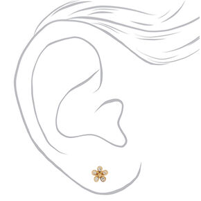 18kt Gold Plated Flower Stud Earrings,