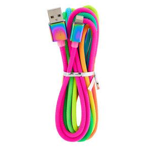 Rainbow Neon Long USB Cord,