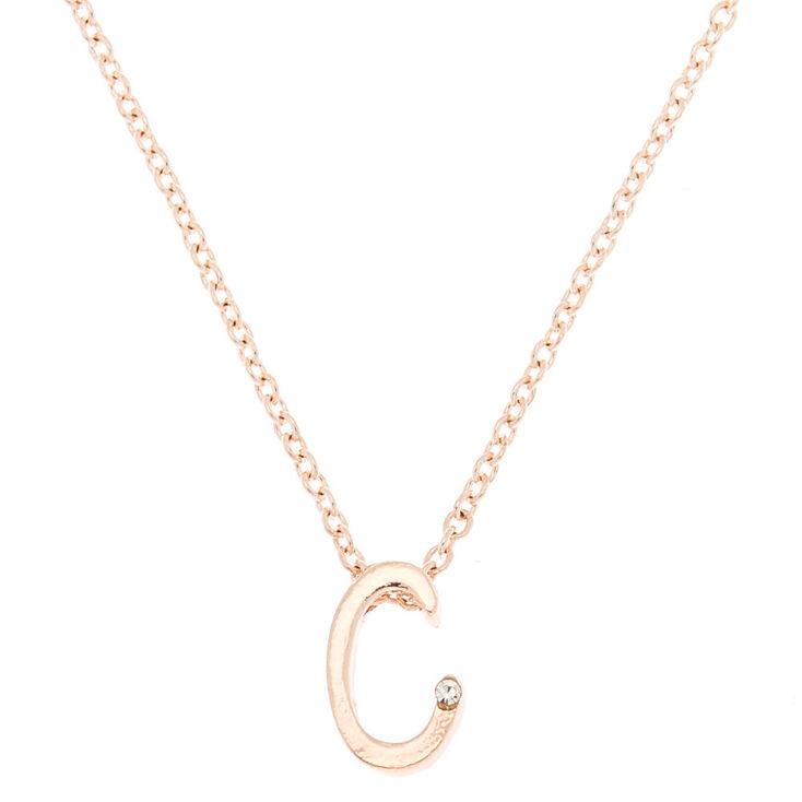 Rose Gold Cursive Initial Pendant Necklace - C,