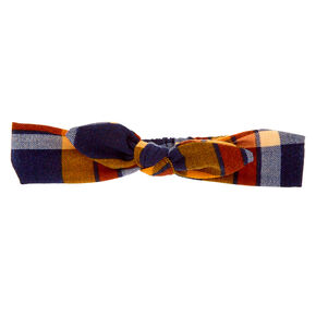 Plaid Knotted Bow Headwrap - Mustard,
