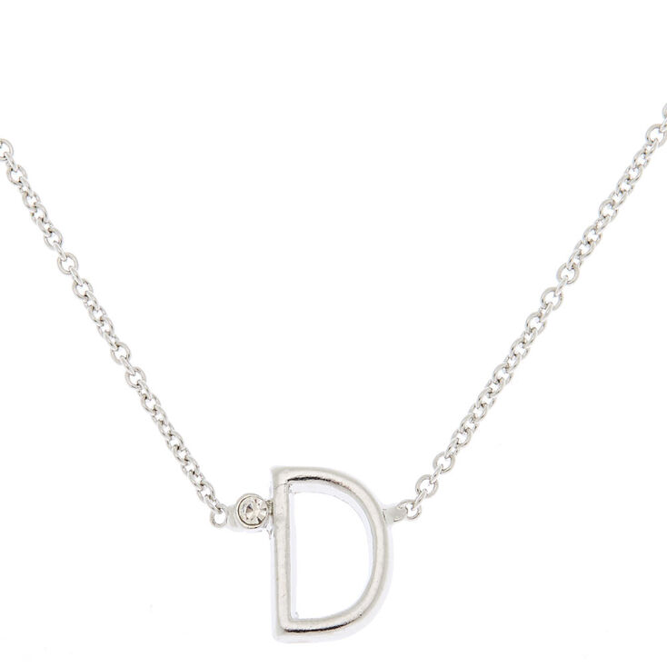 Silver Initial Necklace - D,