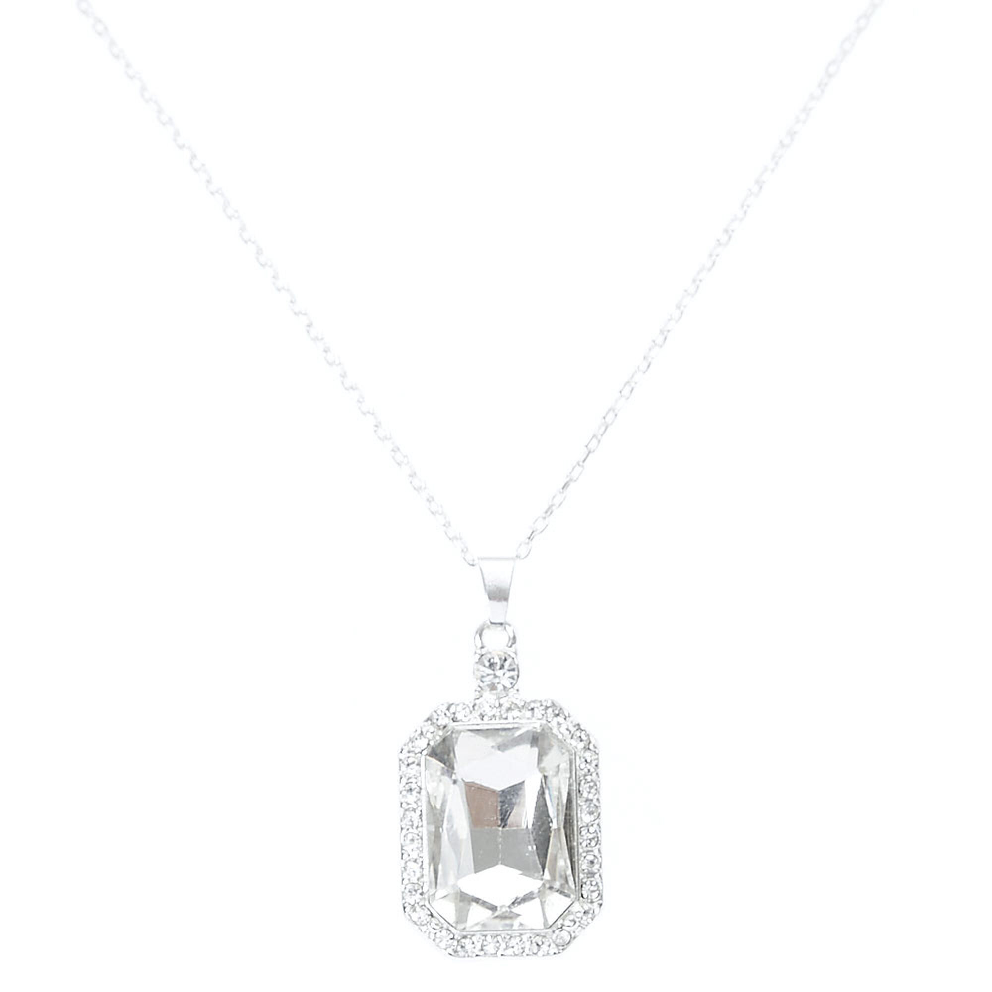 silvertone contemporary emerald cz necklace blue products beloved ct cut diamond fashion stone classic derie faux zirconia pendant cubic halo sapphire