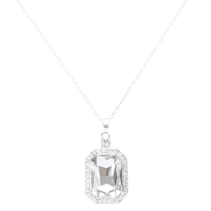 Large Pave Emerald Cut Pendant Necklace,