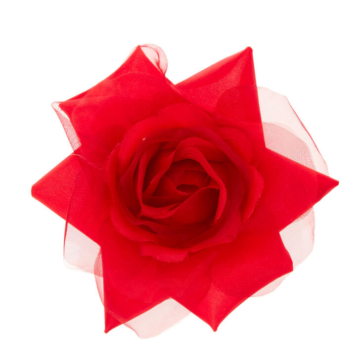 Red Chiffon Rose Hair Clip,