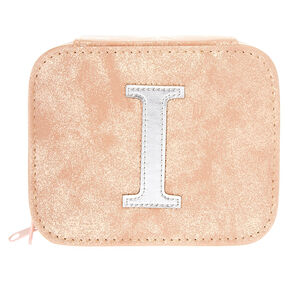 "Blush Pink ""I"" Initial Jewelry Case,"