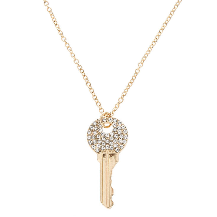 Gold Tone Faux Crystal Studded Key Pendant Necklace,