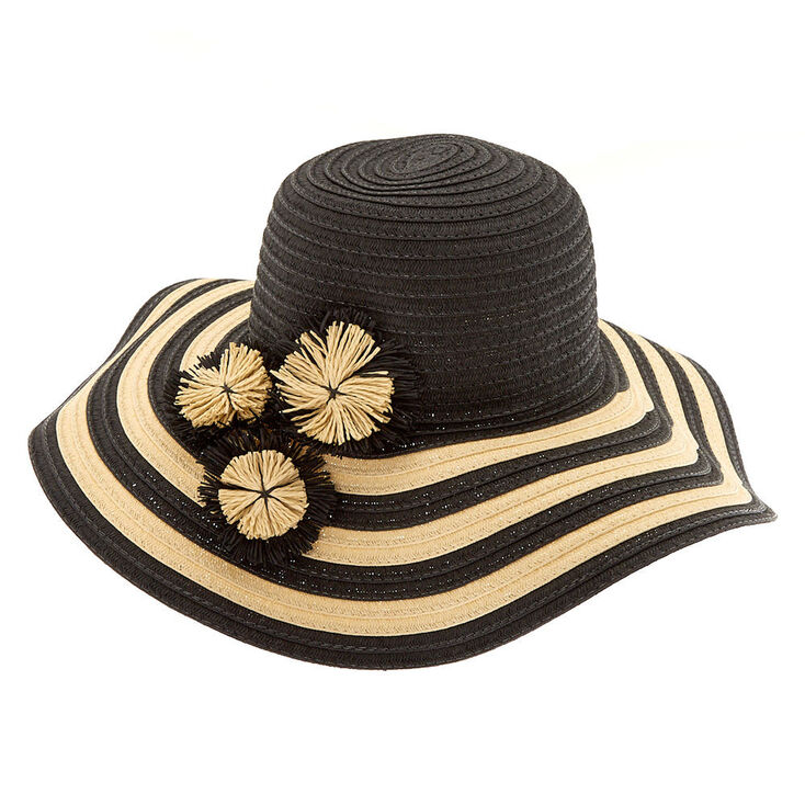 Striped Floppy Hat - Black,