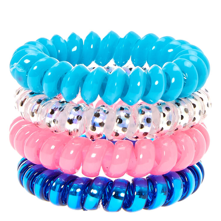 Hot Pink & Blue Coiled Hair Ties,