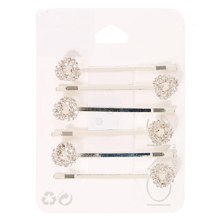 Silver Crystal Knot Bobby Pins,