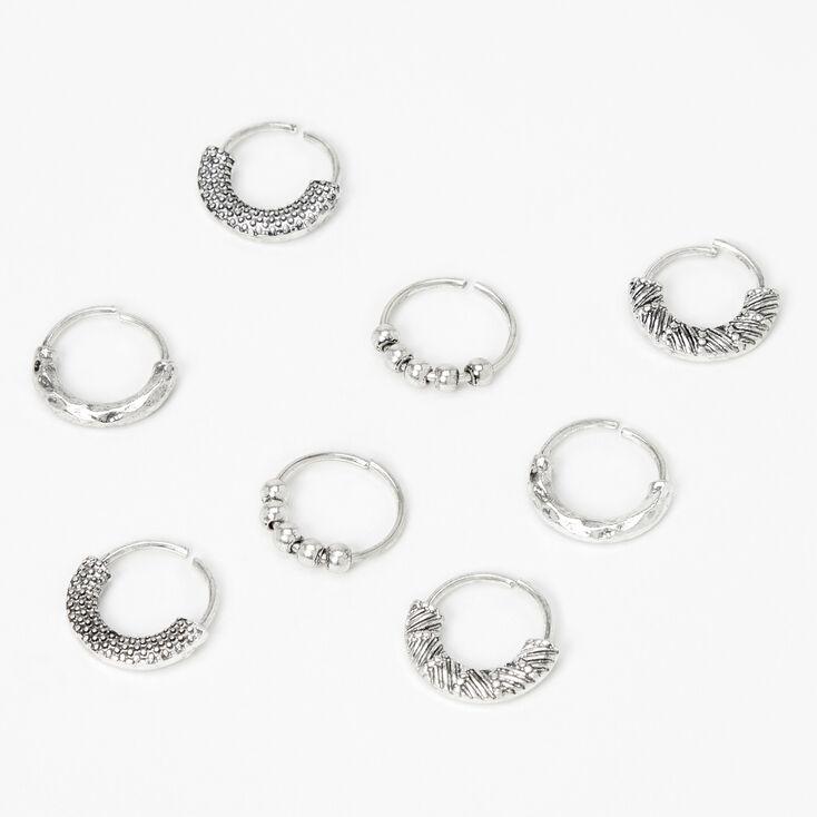 Silver Bali Hoop Hair Rings - 8 Pack,
