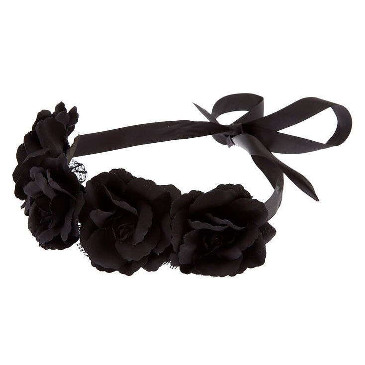 Flower Crown Lace Headwrap - Black,