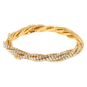 Gold Rhinestone Twist Stretch Bracelet,