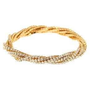 Gold Rhinestone Twist Stretch Bracelet,