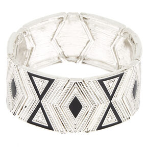 Silver Southwest Stretch Bracelet - Black,