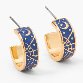Gold 15MM Thick Celestial Hoop Earrings - Navy,