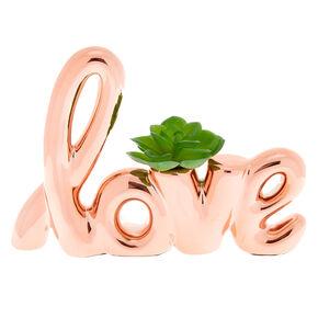 Faux Succulent Love Plant - Rose Gold,