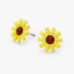 Silver Sunflower Stud Earrings - Yellow,