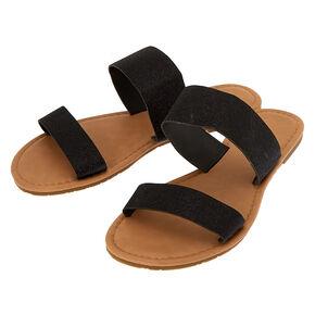 Glitter Double Strap Sandals - Black,