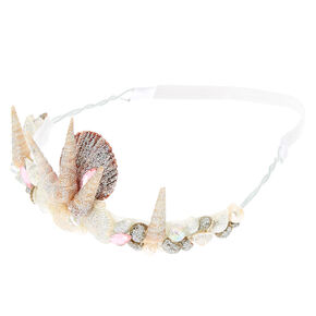 Pink Stone Mermaid Tiara Headwrap - White,
