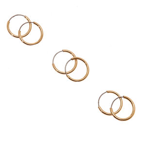 10MM Gold Tone Skinny Hoop Earrings,