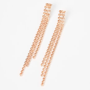Rose Gold Rhinestone Linear Graduated Fringe Drop Earrings,