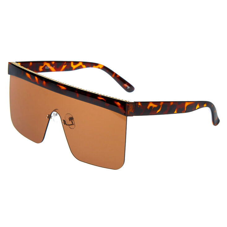 Tortoiseshell Shield Sunglasses - Brown,