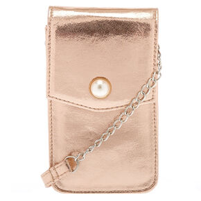 Metallic Rose Gold Tech Crossbody Bag,