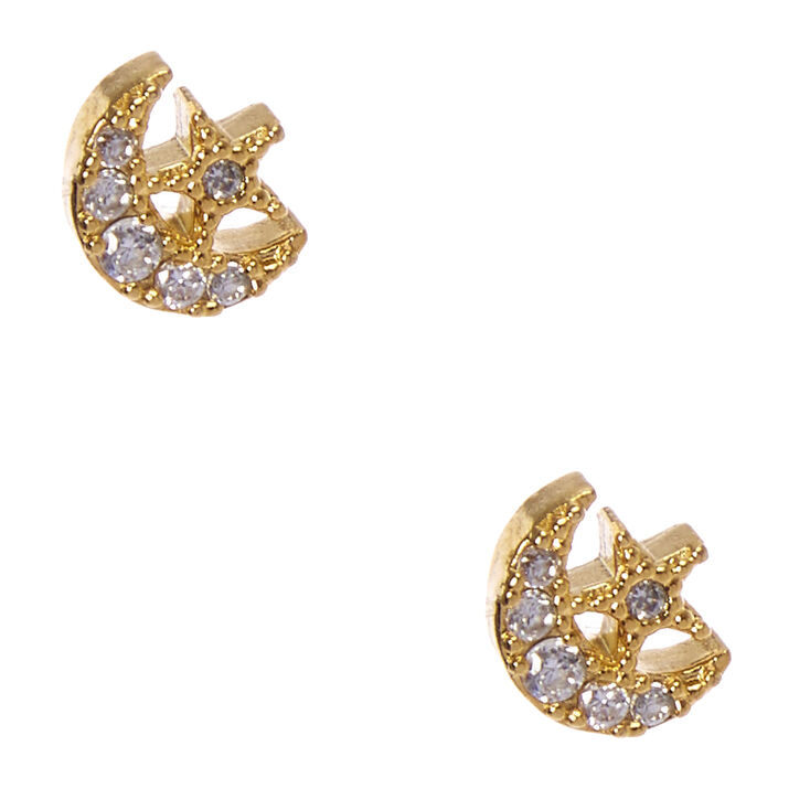 Gold Plated Cubic Zirconia Crystal Moon And Star Earrings,