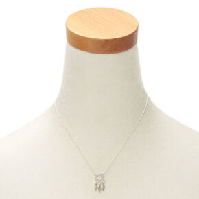 Silver Embellished Dreamcatcher Pendant Necklace,