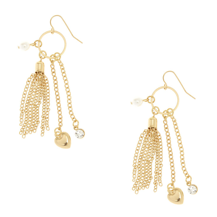 Gold Tone Chain Fringe Charm Drop Earrings,