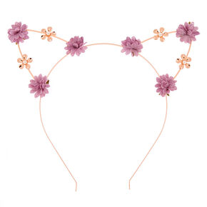 6cf4c4d5f5ea Rose Gold Flower Girl Cat Ears Headband - Lilac
