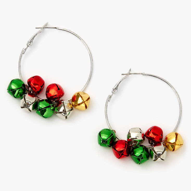 Silver 50MM Holiday Jingle Bell Hoop Earrings,