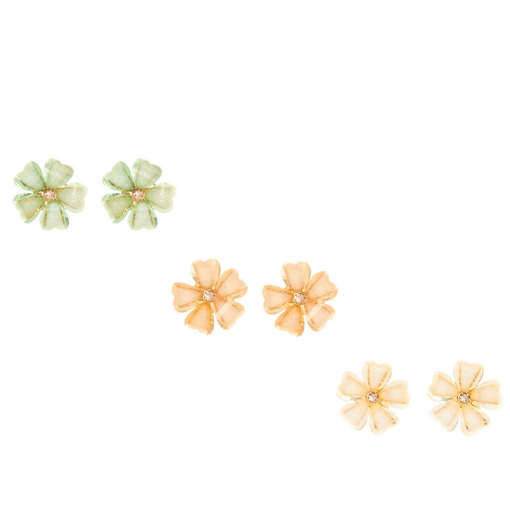 Pastel Glitter Flower Stud Earrings,
