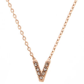 Rose Gold Initial Necklace - V,